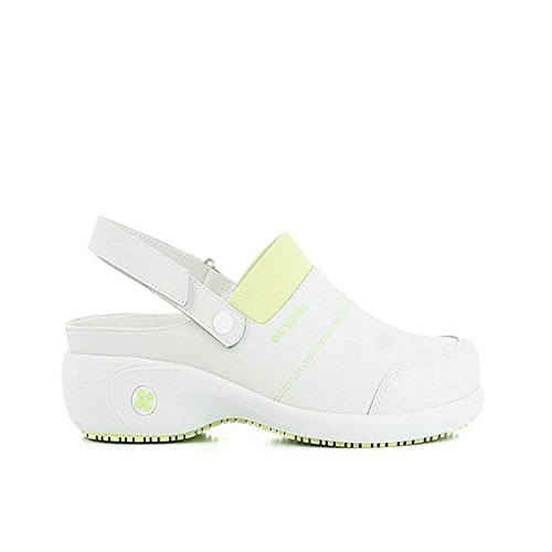 Oxypas Move Up Sandy Slip-resistant, Antistatic Nursing Clogs with Heel in White with Green Size EU 36 / UK 3