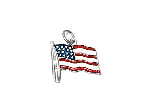 - United States Flag Enameled Red, White and Blue Charm Sterling Silver 19mm, Silver USA Charms, 925 Sterling Silver Charms, Flag Charms - SP633