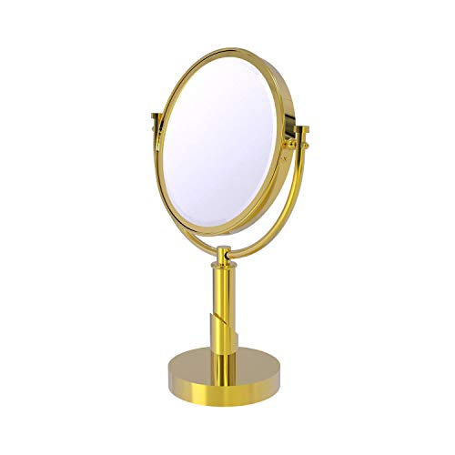 Allied Brass TR-4/5X Tribecca Collection 8 Inch Vanity Top 5X Magnification Make-Up Mirror, Polished Brass
