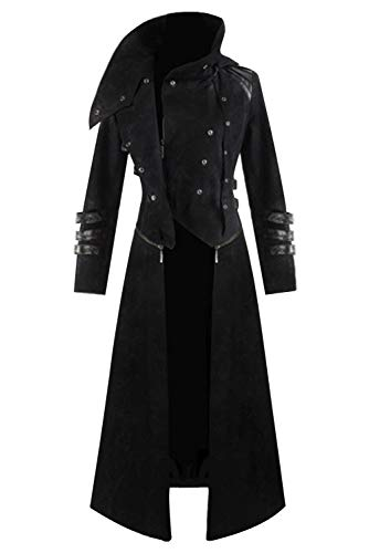 Mens Medieval Steampunk Coat Tailcoat Jacket Halloween Long Gothic Victorian Vintage Costume (Medium, Black 2)]()