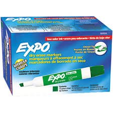 Case of 12 dozens, Expo Low Odor Chisel Tip Dry Erase Markers Green, (144 markers)
