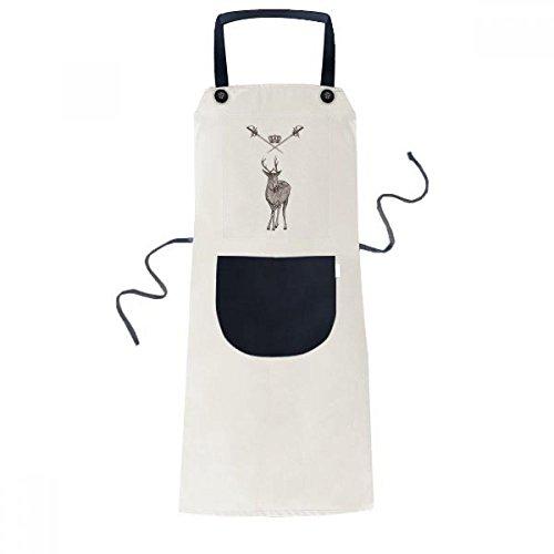 Elk Sword Crown Animal Baroque Style Cooking Kitchen Beige Adjustable Bib Apron Pocket Women Men Chef Gift Elk Sword