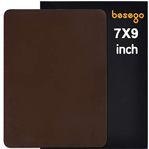 Besego Leather Repair Patch, Leather Adhesive kit for Sofas, Drivers Seat, Couch, Handbags, Jackets - 7 × 9 inch(Medium Brown)