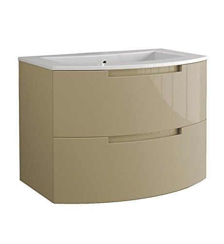 LaToscana OA29OPT1 Oasi 29 inch Modern Bathroom Vanity with 2 Slow Close Drawers and Tekorlux Sink Top With Finish: Glossy Sand by La Toscana