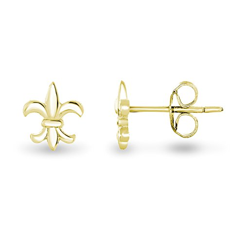 SPOIL CUPID 925 Sterling Silver Lily Flower Mini Fleur De Lis Stud Earrings in 14K Yellow Gold Plated