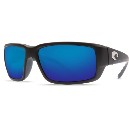 Blue Sunglasses Black (Costa Del Mar Fantail Polarized Sunglasses, Black, Blue Mirror 400Glass)