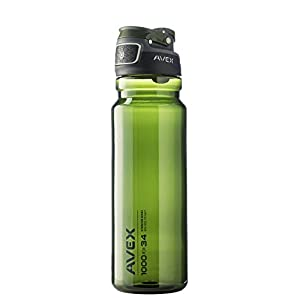 AVEX FreeFlow Autoseal Water Bottle, Olive, 1000ml/34 oz
