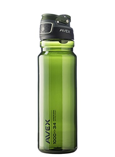 AVEX FreeFlow Autoseal Water Bottle, Olive, 1000ml/34 oz