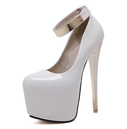 Femmes Court Chaussures Talons hauts à talons hauts 18Cm Pointe Toe Talons hauts Sexy Nightclub Femmes Singles Chaussures , white , 39