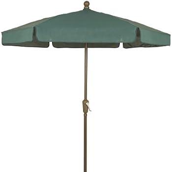 Genial FiberBuilt Umbrellas Garden Umbrella, 7.5 Foot Forest Green Canopy And  Champagne Bronze Pole