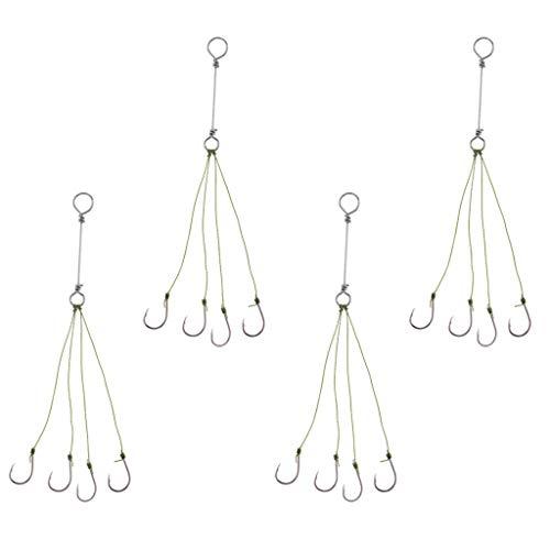 (Ameglia 4 Pieces Explosive Fishing Circle Hook Carp Barbed Fishhooks Rod String Hook (Size - L))