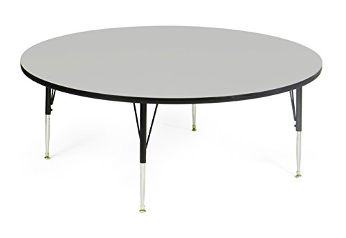 Correll AM60-RND-15  EconoLne Melamine Activity Table, 60'' Round Gray Granite Top, Heavy Duty Height Adjustable Legs, 21'' - 30'' by Correll