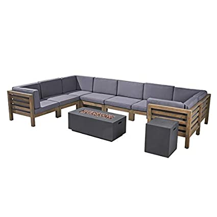 Great Deal Furniture Annabelle Outdoor U-Shaped Sectional Sofa Set with Fire Pit - 10-Piece 8-Seater - Acacia Wood - Outdoor Cushions - Gray and Dark ...