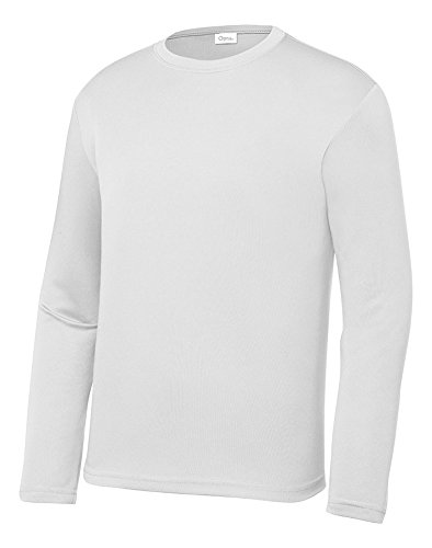 (OPNA Youth Athletic Performance Long Sleeve Shirts for Boy's or Girl's - Moisture Wicking,White M)