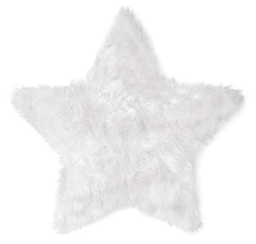Machine Washable Faux Sheepskin White Star Rug 3' x 3' - Soft and silky - Perfect for baby's room, nursery, playroom (Star Large White)