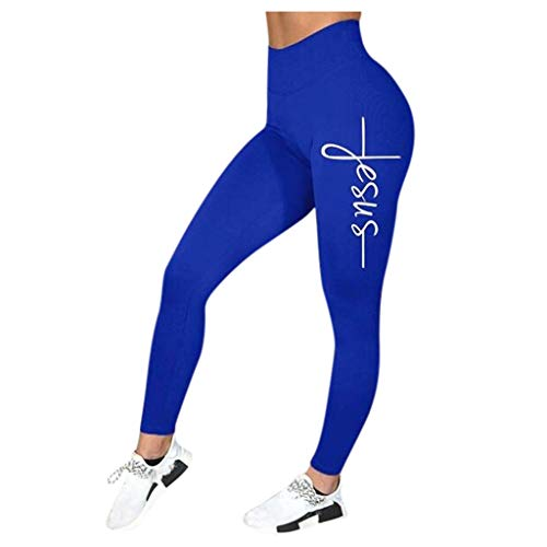 Cithy Women's Winter Stretchy Casual Letter Lined Fitness Sports Running Yoga (XL, Blue)