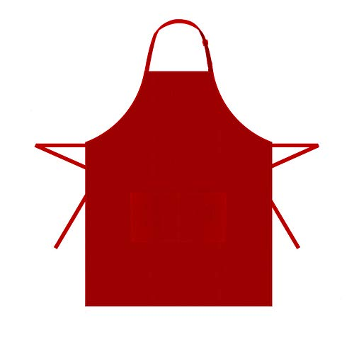 HOPESHINE 2-Pack Plus-Size Aprons for Men with Pockets Water Resistant Adjustable Kitchen Aprons Dish Washing Grooming Chef Aprons (38 inch X 38 inch, Red X 2)