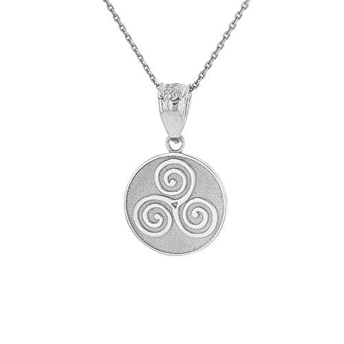 - 925 Sterling Silver Celtic Triple Spiral Triskele Round Pendant Necklace, 16