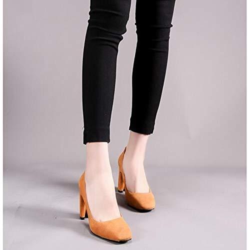 Black Chunky Tacones Suede Camel Heel Mujer Rainbow Zapatos Bomba Camel básica de ZHZNVX Spring aq8xvxw