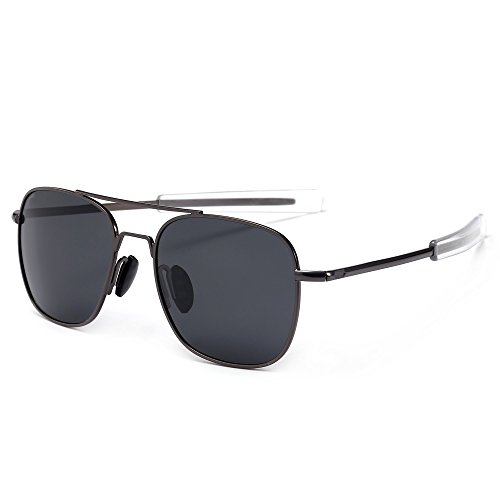 SUNGAIT Men's Military Style Polarized Pilot Aviator Sunglasses - Bayonet Temples (Gunmetal Frame/Gray Lens, 55) A285 QKHU (Pilot Sunglasses Metal)