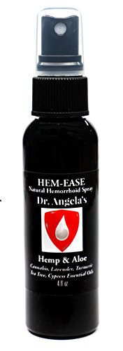 Dr. Angela's Hemorrhoid Treatment Spray | Organic Hemp & Aloe Formula with Cannabis, Lavender, and Turmeric Essential Oils (4 fl oz) All-Natural Relief