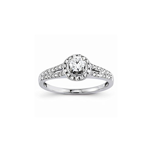 14k Semi-Mounting Wg Engagement Ring, No Center Stone Included (14k Wg Mountings)