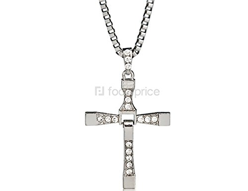 Cross Shape Designed Crystal Rhinestones Decorated Necklacce Pendant Keychain (Silver)