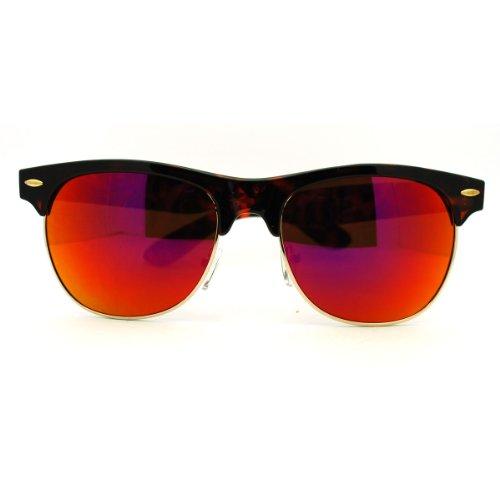 mirrored Color Mirror Lens Half Rim Club Master Horn Rim Sunglasses - Tortoise - Wayfarer Half Sunglasses Rim