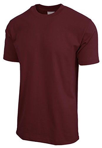 Hat and Beyond Mens Super Max T Shirt Heavyweight Solid Short Sleeve Tee S-5XL (1ks06_Burgundy/X-Large)