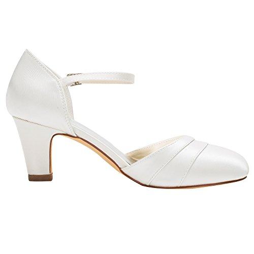 Emily Bridal Chaussures de Mariée Souliers de Soie en Soie de Femme en Forme de Talon Beige MJ9w3