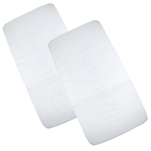 BabyPrem Pack of 2 Fitted Crib / Pram Sheets 100% Cotton - Plain White SH002