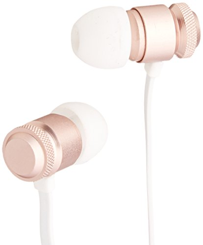AmazonBasics In-Ear Headphones with Flat Cable and Universal Mic - Rose Gold
