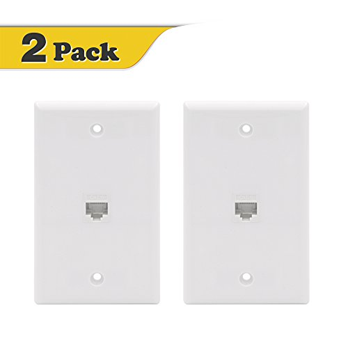 VCE (2-PACK) 1 Port Cat6 Female to Female Wall Plate - White - Female Wall Plate