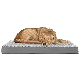 Furhaven Pet Dog Bed - Deluxe Orthopedic Mat Ultra Plush Faux Fur Traditional Foam Mattress Pet Bed w/ Removable Cover for Dogs & Cats, Gray, Large