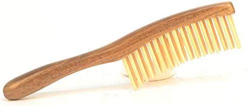 KLXLJZXZ サンダルウッド二重列櫛帯電防止ヘッドブラシ手作り天然巻き毛スタイリングツール
