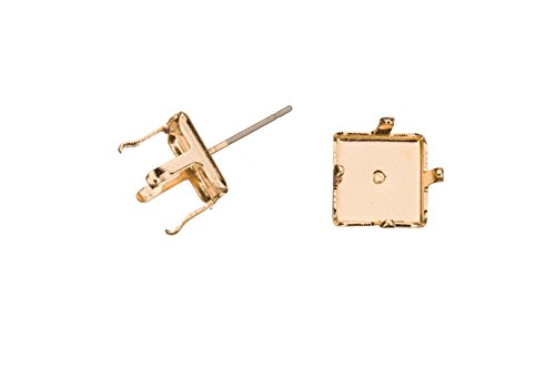 4-Prong Diamond Snap-On Ear Stud 14K Gold Finished Brass Fits 10X10mm Cabochons And Crystal With Surgical Stainless Steel Pin 10X10mm sold per 8pcs