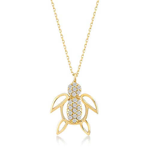 GELIN 14k Yellow Gold Sea Turtle with CZ Pendant Necklace for Women, 18