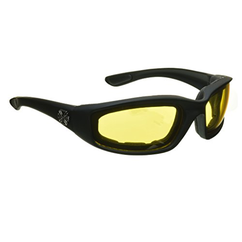 Night Driving Riding Padded Motorcycle Glasses 011 Black Frame with Yellow Lenses