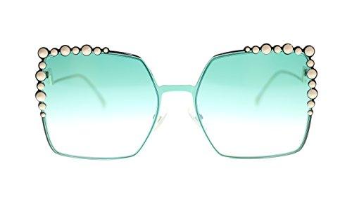 Fendi Womens Sunglasses FF0259S 1ED Green/Green Yellow Lens Square 60mm Authentic