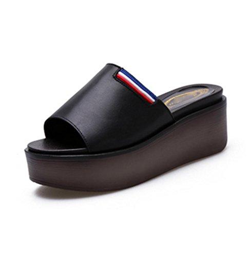 Zapatillas Cool Ladies Verano pendiente y zapatos de playa de cien pies Black