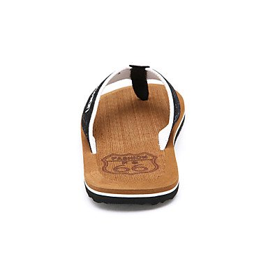 Sandalias de verano zapatos de hombre casual Flip-Flops exteriores / microfibra negro / marrón Negro