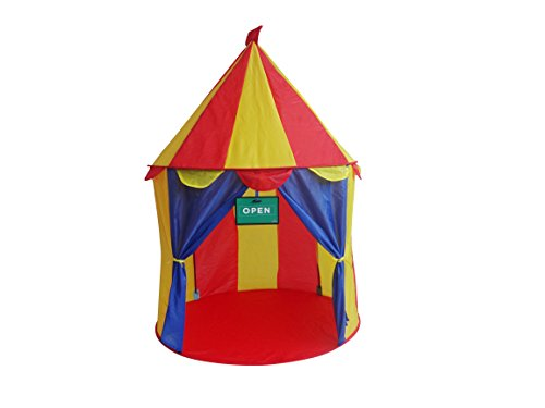 Play Kreative Bright Colorful Circus POP UP Tent - Carnival Booth Play Tent for Indoors/Outdoor Children Play Activities and Beach Sun Shelter. Great Birthday Gift for Boys and Girls
