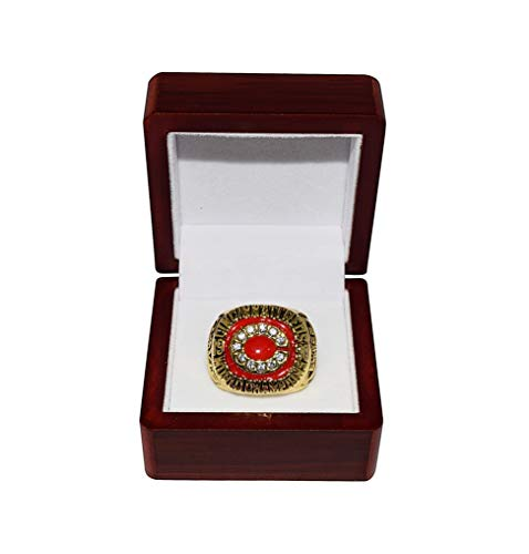 (CINCINNATI REDS (Eric Davis) 1980 WORLD SERIES CHAMPIONS (4-0 Game Sweep) Vintage Rare Collectible High-Quality Replica Baseball Championship Ring with Cherrywood Display Box)