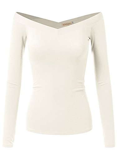 Women Knitted Sweater Slim Pullover Ladies Long Sleeve Shirt (S,White K1029) (Sweater Double V-neck)