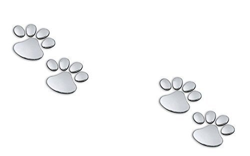 Body Decal - 2 Pairs of Metal 3D Bear Dog Cat Animal Paw Foot Print Car Window Bumper Body Decal Sticker Chrome