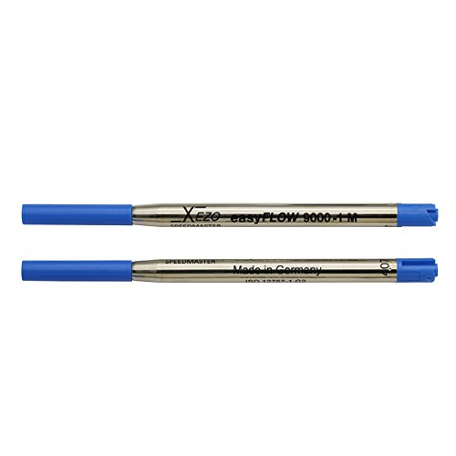 Xezo Pens Speedmaster Medium Ballpoint Gel Refills, Pack of 2, Blue Ink (Blue9000-1BallpointRefills)