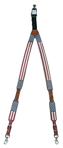 Custom God Bless America American Flag Leather Suspenders Galluses or Braces by Genuine Texas Brand (Image #1)