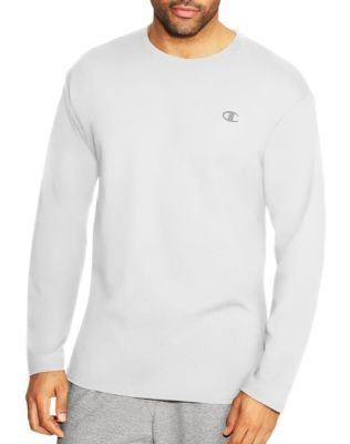 Champion Men's Jersey Long Sleeve Tee, White,L US