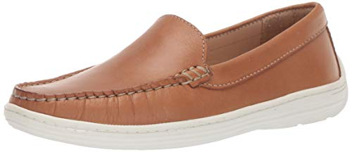 Driver Club USA Unisex Leather Boys/Girls Casual Comfort Slip On Moccasin Venetian Loafer Driving Style, tan Nappa, 4 M US Little Kid
