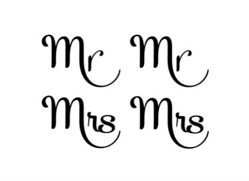 Mr & Mrs Temporary Tattoo, Cut Apart and Share, Set of 2 Sheets (Bachelor Chest Natural)
